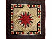 Burgundy and Green Compass Star Wall Hanging