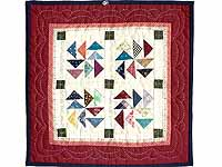 Miniature Red And Multi Dutchman Puzzle Quilt