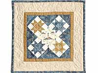 Miniature Blue and Gold Ohio Stars Lighthouse Quilt