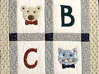 Apple Bear and Cat Applique Crib Quilt