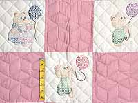 Pastel Pink & Multi Embroidered Bears Crib Quilt