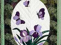 Fern Green Applique Iris Wall Hanging