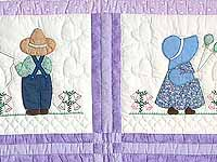 Lavender Sunbonnet Sue & Bill Crib Quilt