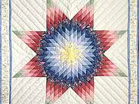 Rose and Multicolor Lone Star Crib Quilt