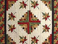 Gold Red and Sage Autumn Splendor Log Cabin Throw / Wall Hanging
