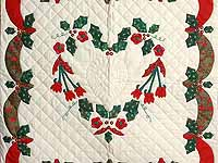 Red Green and Gold Holly Heart Wall Hanging