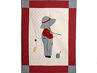 Red and Gray Fisher Boy Applique Crib Quilt