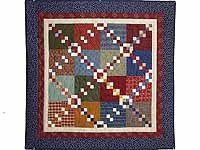 Blue Burgundy and Multicolor Falling Blocks Wall Hanging