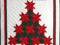 Red and Green Patchwork Christmas Tree Wall Hanging