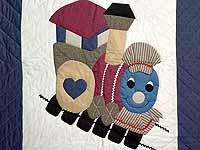 Blue and Plum Thomas Train Crib Quilt