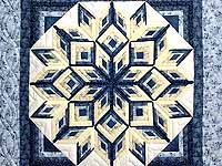 Blue and Yellow Diamond Log Cabin Throw