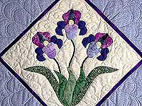 Blue and Purple Iris Applique Wall Hanging