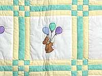 Green and Yellow Teddy Bear Crib Quilt