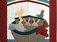 Bold Burgundy Noahs Ark Crib Quilt