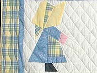 Pastel  Blue and Yellow Holly Hobby Crib Quilt