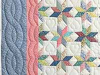 Pastel Blue Pink and Multi Little Stars Crib Quilt