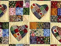 Green Multicolor Hearts and Nine Patch Wall Hanging