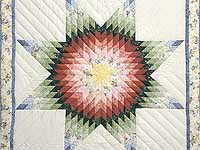 Green and Multicolor Lone Star Crib Quilt