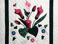 Rose and Dark Green Country Lily Wall Hanging