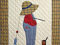 Tan Red and Navy  Fisher Boy Applique Crib Quilt