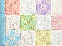 Pastel Blue and Multi Nine Patch Crib Quilt