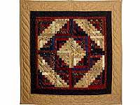 Carmel Navy and Burgundy Log Cabin Wall Hanging