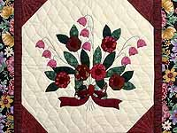 Rose Burgundy and Green Rose of Sharon Wall Hanging