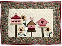 Raspberry and Green Bird Houses Wall Hanging