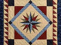 Navy Blue and Burgundy Mariners Compass with Geese Throw