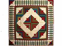 Red  Green and Multi  Log Cabin in the Woods Throw