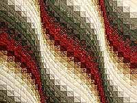 Moss  Red and Gold Bargello Wave Wall Hanging
