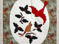 Frosty Teal Christmas Cardinals Applique Wall Hanging