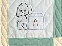 Pastel Green and Blue Embroidered Baby Animals Crib Quilt