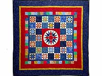 Hand-Dyed Compass Ohio Star Checkerboard Throw