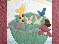 Raspberry and Blue Pastel Noahs Ark Crib Quilt