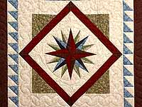 Burgundy Blue and Green Mariners Compass with Geese Wall Hanging