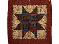 Burgundy Tan and Multicolor Log Cabin Star Wall Hanging