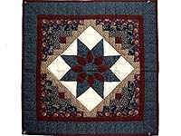Navy and Burgundy Dahlia Star Log Cabin Wall Hanging
