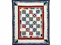 Blue Burgundy and Multicolor Shoo Fly Wall Hanging