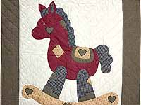 Plaid Burgundy Tan and Green Rocking Horse Crib Quilt