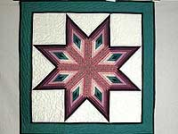 Plum and Teal Log Cabin Star Wall Hanging