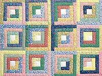 Pastel Blue Pink and Multi Log Cabin Crib Quilt