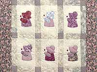 Lavender and Gray Sunbonnet Sue Crib Quilt