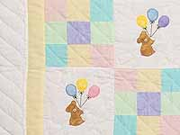 Pastel Yellow Teddy and Nine Patch Crib Quilt