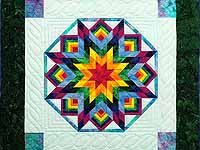 Dark Green Sky Blue and Multi Batik Star Burst Wall Hanging