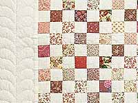 Rose and Cream Blocks Crib Quilt