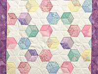 Purple and Pastels Tumbling Blocks Crib Quilt