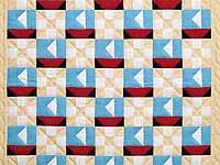 Blue Red and Tan Sailboat Nine Patch Crib Quilt
