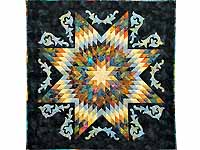 Blue and Multi Lone Star with Scrolls Wall Hanging