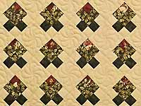 Burgundy and Green Rosebud Nine Patch Crib Quilt